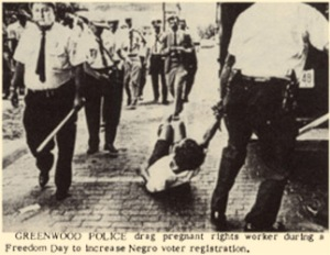 Photo from the SNCC newspaper The Student Voice most likely taken during Freedom Day in Mississippi in March 1963.