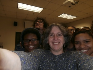 Simone with some assorted Creative Writing students.