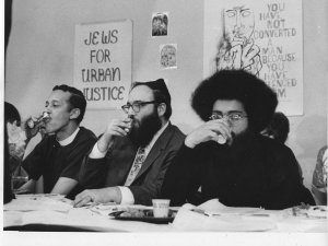 Rev. Channing E. Phillips, (left) Rabbi Arthur Waskow, and Topper Carew on April 4, 1969, the night of the first Freedom Seder.