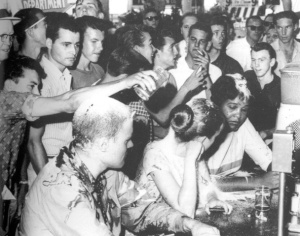 Sit-in at the Woolworths lunch counter in Jackson, Mississippi, 1963. Annie Moody (far right) was a student at Tougaloo College in Jackson.