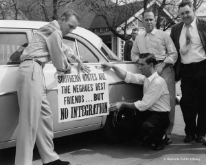 Desegregation opponents decorate a car for a protest parade, Nashville, TN, March 1956.