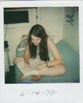 My father took this picture.   I think I'm writing, probably not in a library book.